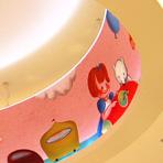 高島屋 大阪店6Fこども フロアの照明。  女の子とテディベアは 旅するサーカス団と出会います。